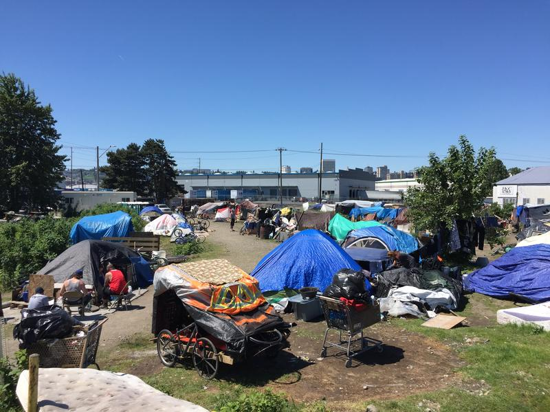 A homeless encampment that existed in Tacoma's tideflats until city officials cleared the encampment and relocated residents in June 2017.