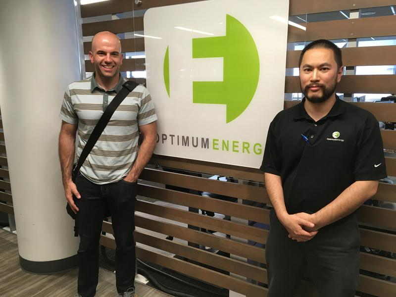 UW Associate Professor Jim Pfaendtner with Optimum Energy's Fred Woo, at the company's headquarters in Pioneer Square, Seattle.