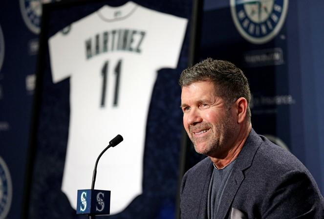 Mariners former designated hitter Edgar Martinez smiles as he speaks at a news conference announcing the retirement of his jersey number 11, Tuesday, Jan. 24, 2017, in Seattle. The Mariners will retire Edgar's number in a ceremony Aug. 12 at Safeco Field.