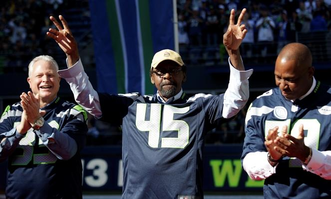 Former Seattle Seahawks' Kenny Easley (45) is recognized during a halftime celebration of the 40th anniversary of the Seahawks in 2015 in Seattle. KNKX sports commentator Art Thiel says current strong safety Kam Chancellor has a lot in common with Easley.