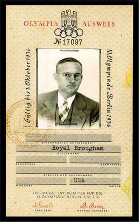 Royal Brougham's official Olympic pass from 1936.