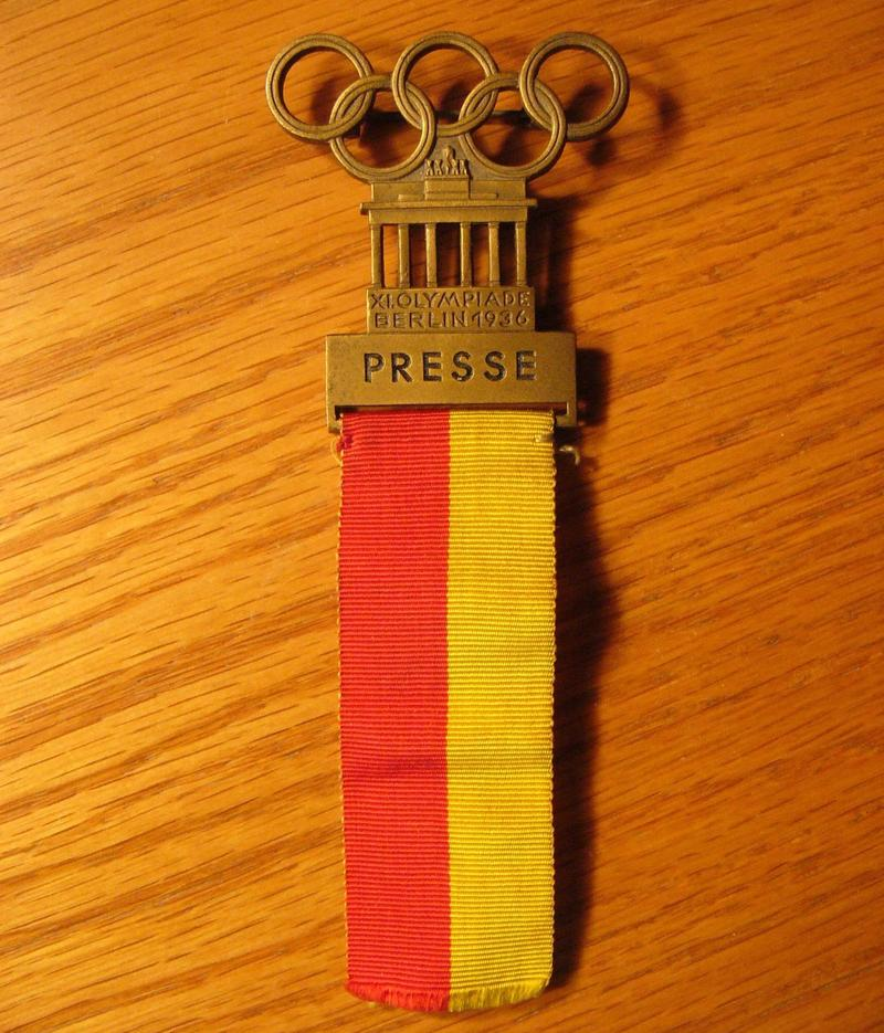 Royal Brougham's press badge from the 1936 Olympics
