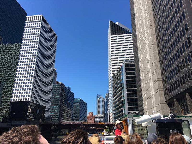 Emily Clott leads an architecture tour on the Chicago River, for the Chicago Architecture Foundation.