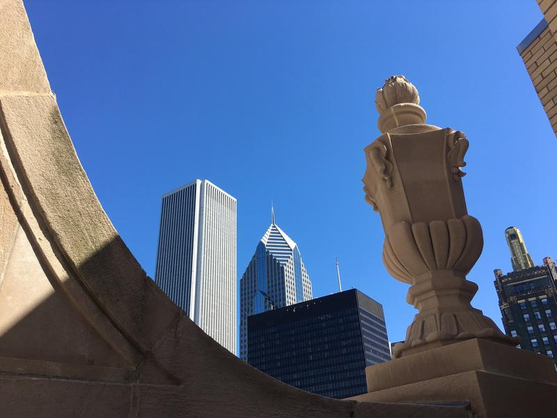 Chicago is home to a variety of architecture. This photo was taken from atop the LondonHouse hotel at E. Upper Wacker Drive and N. Michigan Ave.