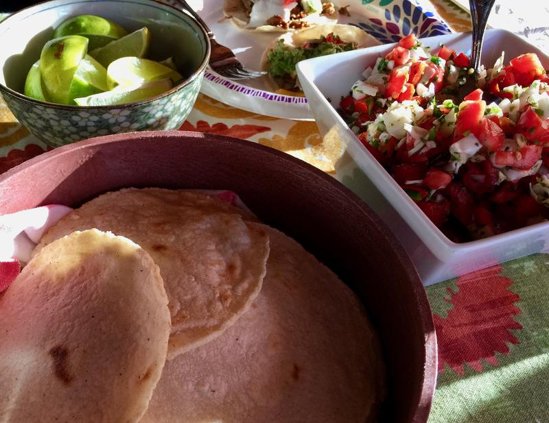Nancy's homemade corn tortillas and pico de gallo