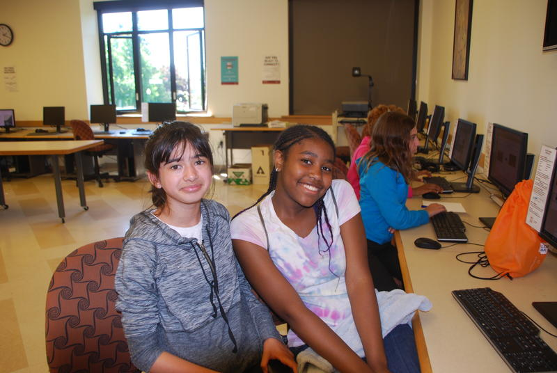 Gabriela Lizarraga (left) and Lavina Polk are both 13 and were part of the team at the University of Puget Sound