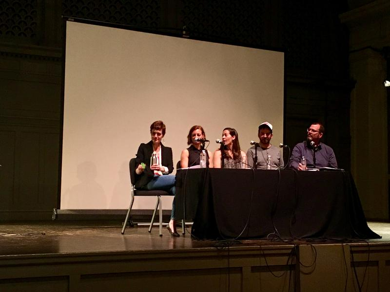 "Five of Marcus Harrison Green's friends read for characters in his play ""Caucasians Anonymous"" at Town Hall in Seattle in June. From Left: Diana Falchuk, Anne Althauser, Marilee Jolin, Evan Clifthorne and Matt Aspen"