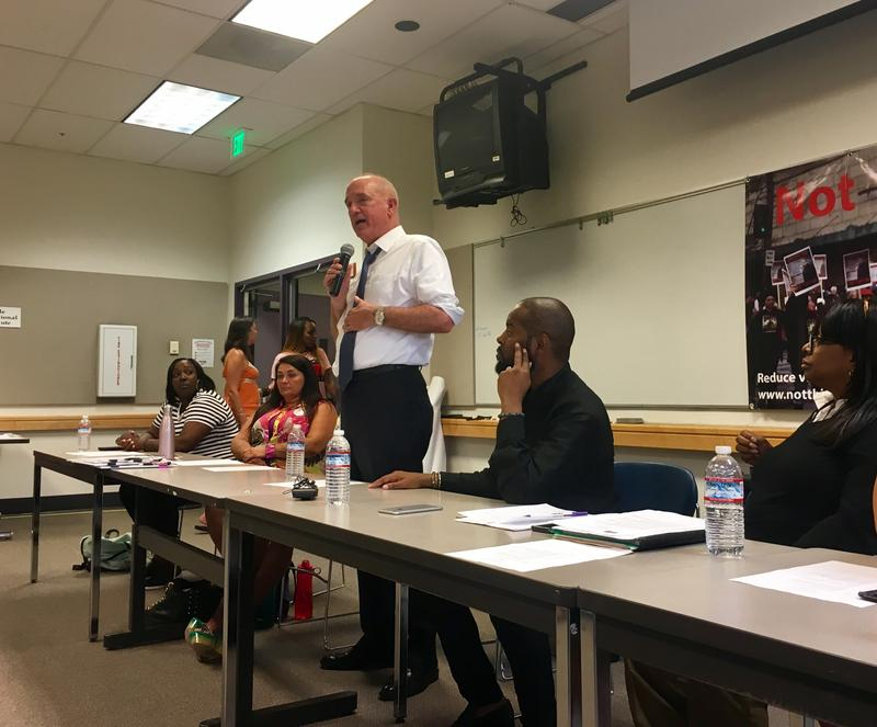 King County Sheriff John Urquhart speaks at a public forum on police shootings held by Andre Taylor, whose brother was shot and killed by Seattle Police in 2016.