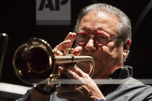 Cuban jazz player Arturo Sandoval plays during a concert in Moscow, Russia, Monday, Feb. 27, 2017