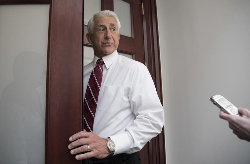 In this July 28, 2017, file photo, U.S. Rep. Dave Reichert arrives for a House Republican Conference meeting on Capitol Hill in Washington, D.C.