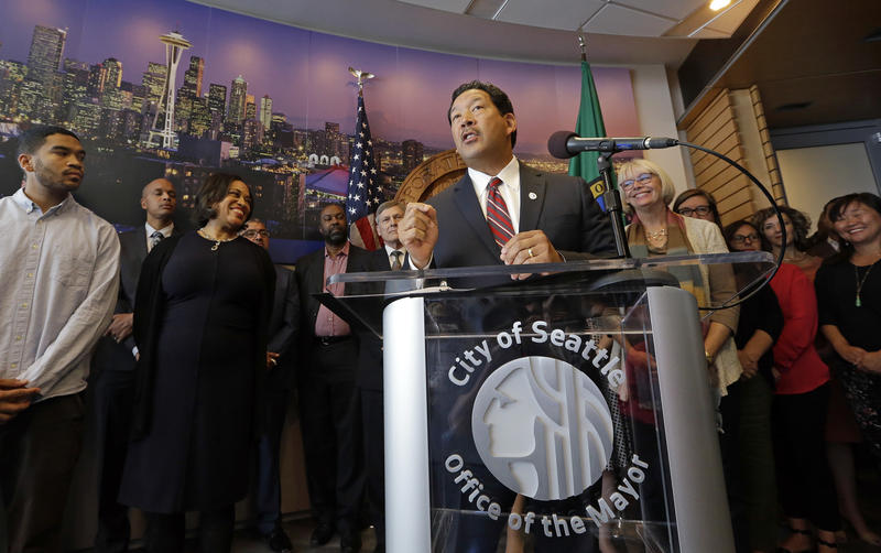 Seattle Mayor Bruce Harrell declines to act as mayor until the end of the election Friday, Sept. 15, 2017, at a press conference at City Hall.