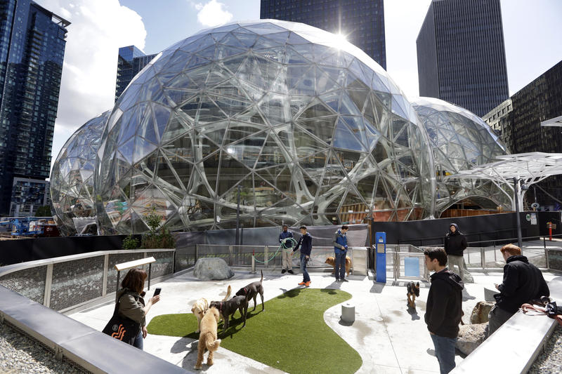 Part of the Amazon campus in Seattle, where the company is currently singularly headquartered