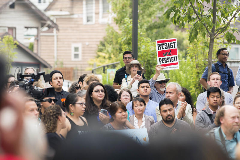 Hundreds gather Sept. 5 at El Centro de la Raza in Seattle to protest the Trump administration's announcement that it would roll back the DACA program.