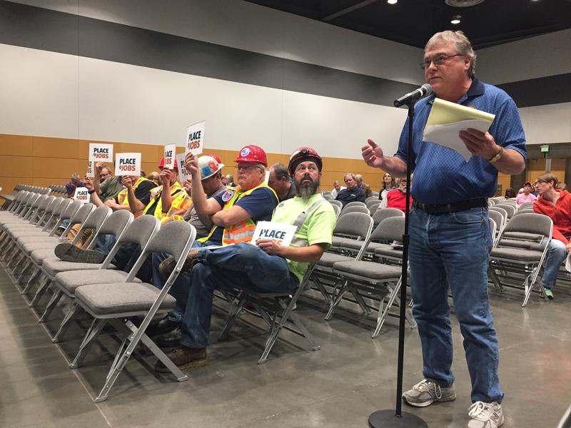 A union leader speaks at a Sept. 13, 2017, hearing on interim regulations for Tacoma's tideflats
