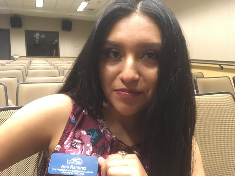 Western Washington University sophomore Ana Ramirez shows her name tag, with the student government title she says she rightfully earned.