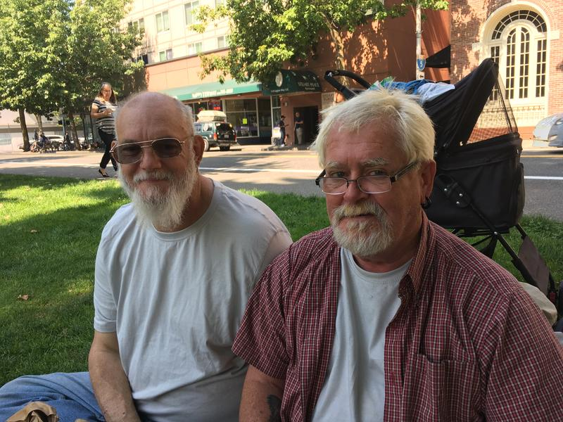 Charles and Dave, two men who sleep every night at The People's House in Olympia, Washington.