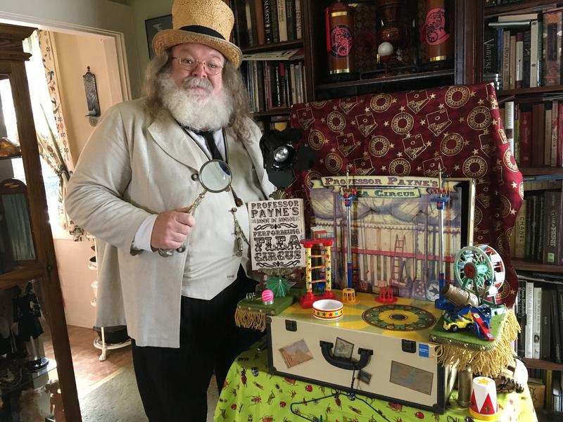 "Payne Fifield and his ""humbug flea circus,"" in his Wallingford home."