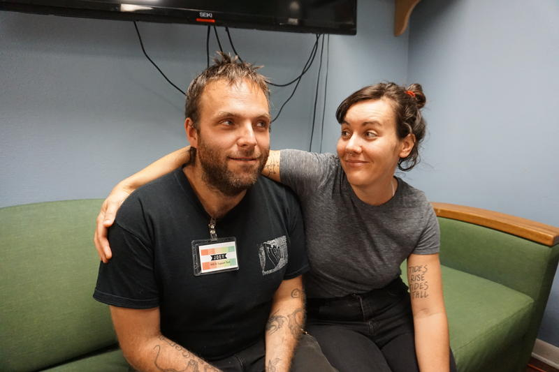 Meg Martin and Joey Seward, at the Interfaith Works Emergency Overnight Shelter in Olympia.