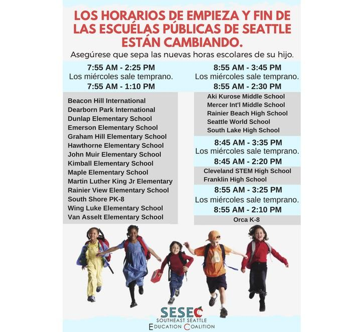An infographic in Spanish about bell times for Southeast Seattle public schools