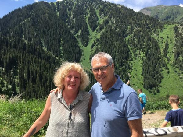 "Michael and Debbie Campbell, the ""Senior Nomads,"" near Almaty, Kazakhstan this summer."