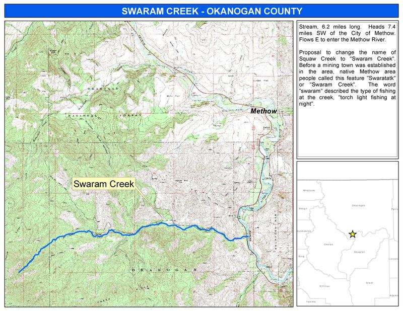 USGS map of Squaw Creek in Okanogan County showing its proposed name change.  The public can comment through October.