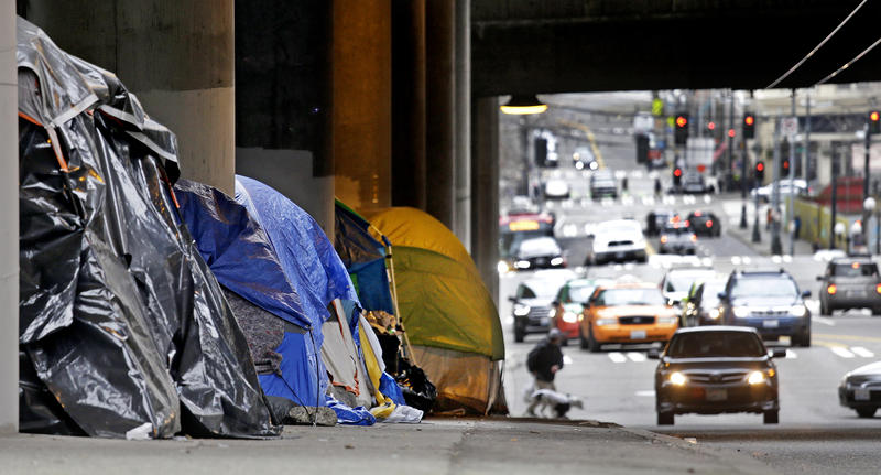 Tarp-covered tents line a sidewalk beneath a highway and adjacent to downtown Seattle, Wednesday, March 8, 2017.