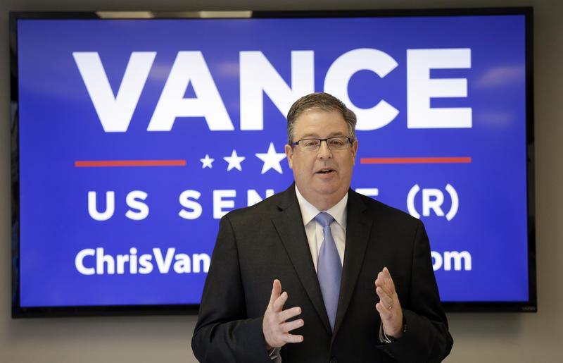 Chris Vance denounces Trump at a May 2016 press conference during his bid for U.S. Senate.
