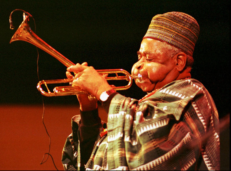 Dizzy Gillespie plays his trumpet on the main stage during the Monterey Jazz Festival in Sept. 1990