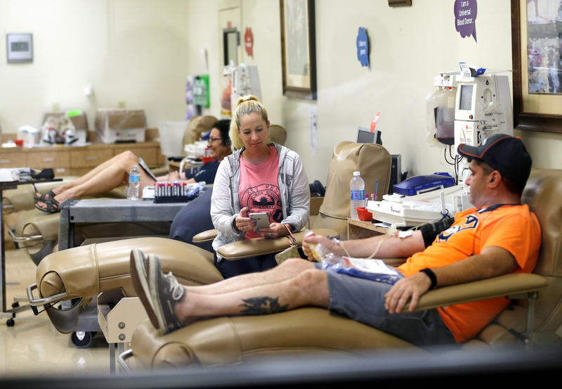 Donors give blood in Orlando, after the mass shooting at a nightclub in 2016. Blood centers again put out the call for donations after the weekend shooting in Las Vegas.