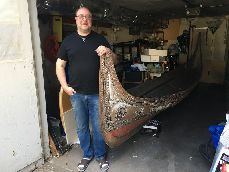 Michael Jacobson, with one of the tatala canoes he purchased from Ivar's.