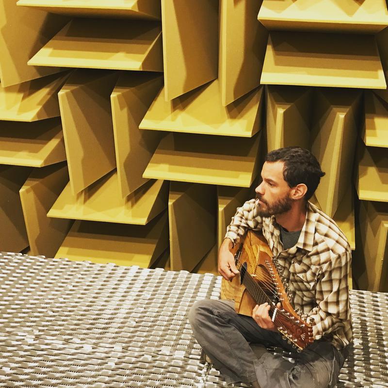 Josh Humphrey plays the Raga guitar inside the anechoic chamber
