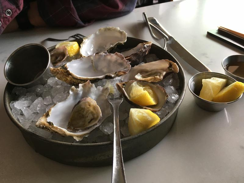 Some of the offerings at the Chelsea Farms Oyster Bar in downtown Olympia.