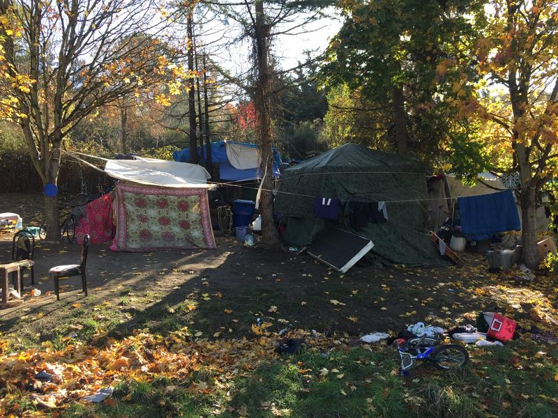 An encampment on the western slope of Beacon Hill, near I-90