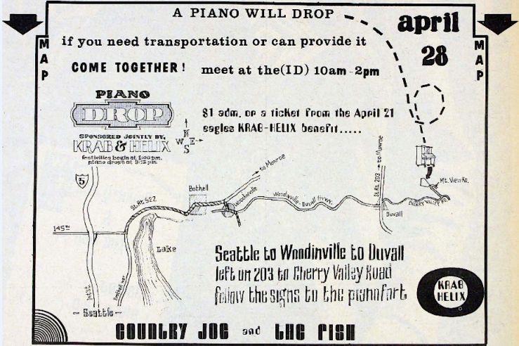 Publicity for the piano drop, organized by the alternative newspaper The Helix and the community-supported radio station, KRAB.