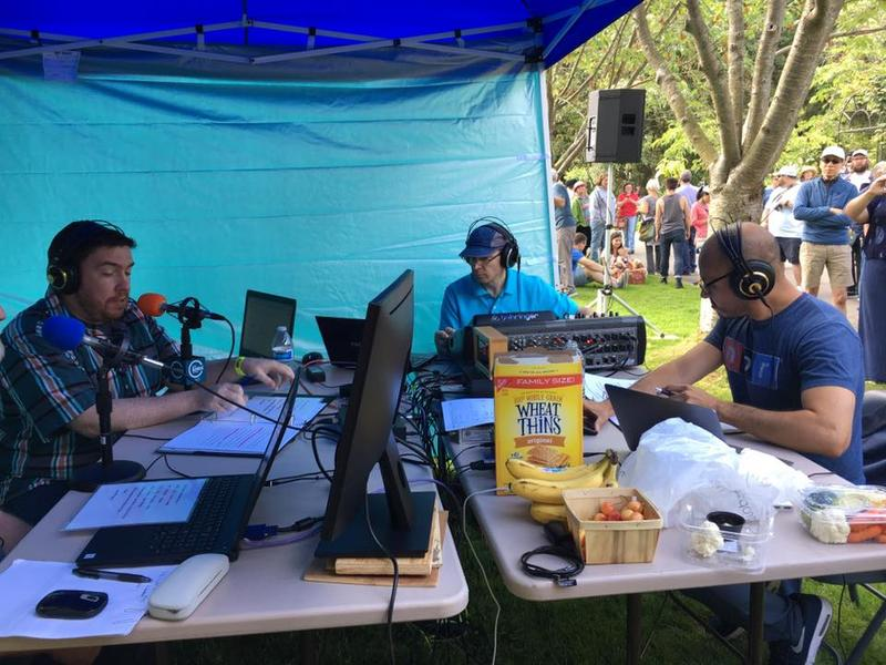KNKX All Things Considered host Ed Ronco, chief engineer Lowell Kiesow, and director of content Matt Martinez, broadcasting live from the Ballard Locks in Seattle, on July 3, 2017.