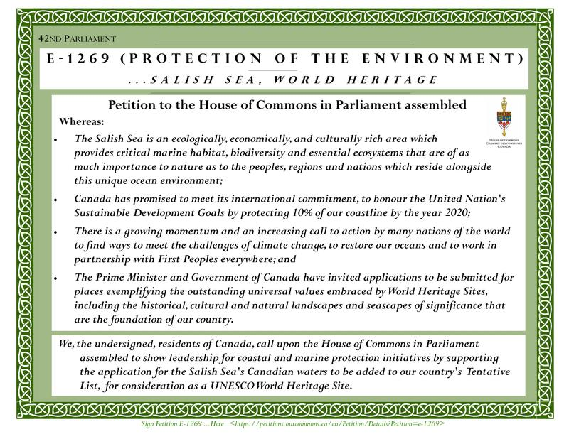 The official petition to the Canadian government to consider the Salish Sea as a UNESCO world heritage site.