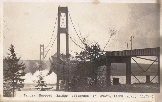 The Tacoma Narrows Bridge collapsed in 1940, due to several critical engineering failures.