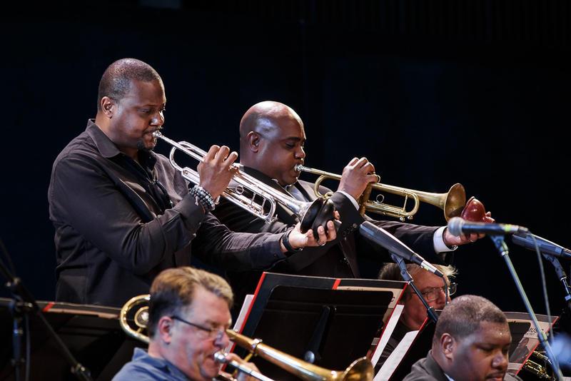 Sean Jones, Terell Stafford, trumpets;  Dan Marcus, Wycliffe Gordon, trombones (front)