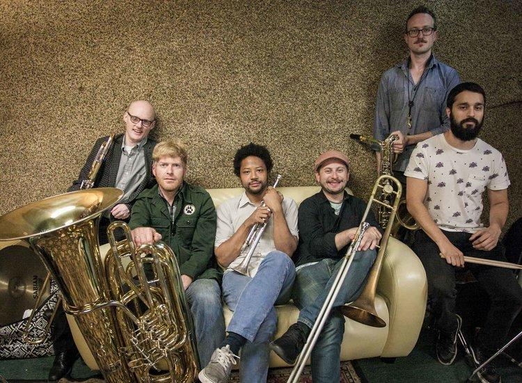 Seattle's 45th St Brass bring their funky fun to the KNKX studios Monday at 12:15.