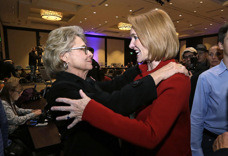 Seattle mayoral candidate Jenny Durkan, right, is greeted by former Gov. Chris Gregoire at an election night party Tuesday, Nov. 7, 2017, in Seattle.