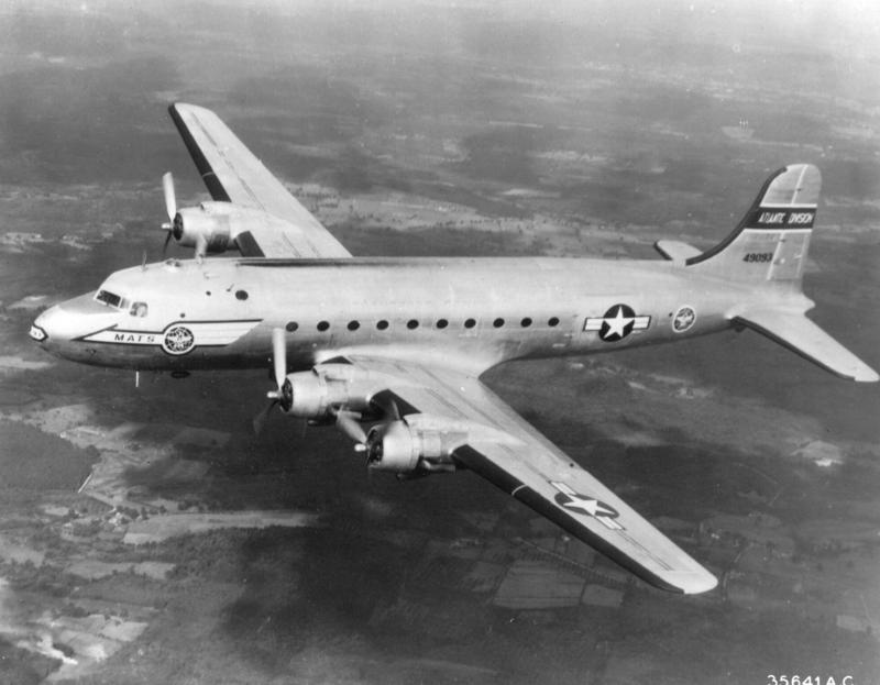 A USAF C-54 Skymaster, like the one that crashed on approach to McChord Air Force Base in 1952.