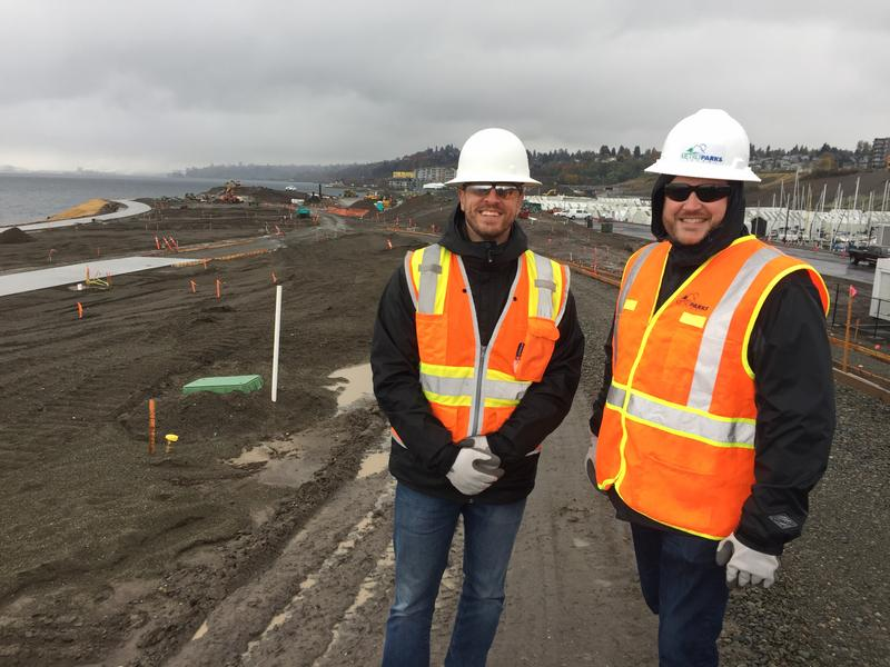 Metro Parks Tacoma Commissioner Erik Hanberg, right, with project manager Roger Stanton on a peninsula of slag that's being tranformed into the city's newest park