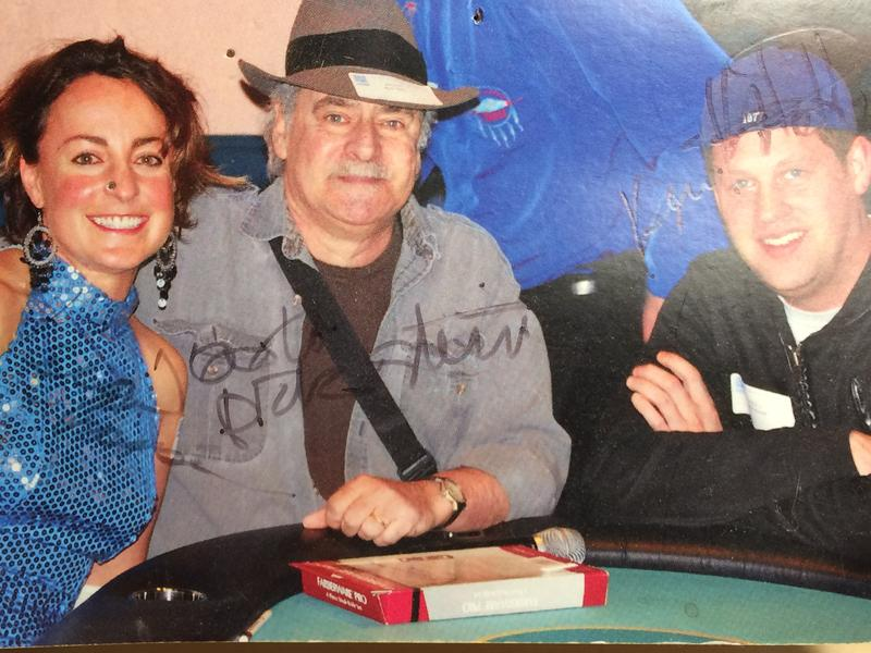 88.5's Paige Hansen, Dick Stein and Kevin Kniestedt sitting around a poker table for a station fundraiser.