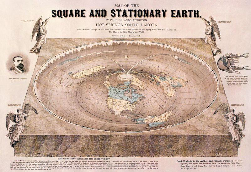 "Flat Earth map drawn by Orlando Ferguson in 1893. The map contains several references to biblical passages as well as various jabs at the ""Globe Theory""."
