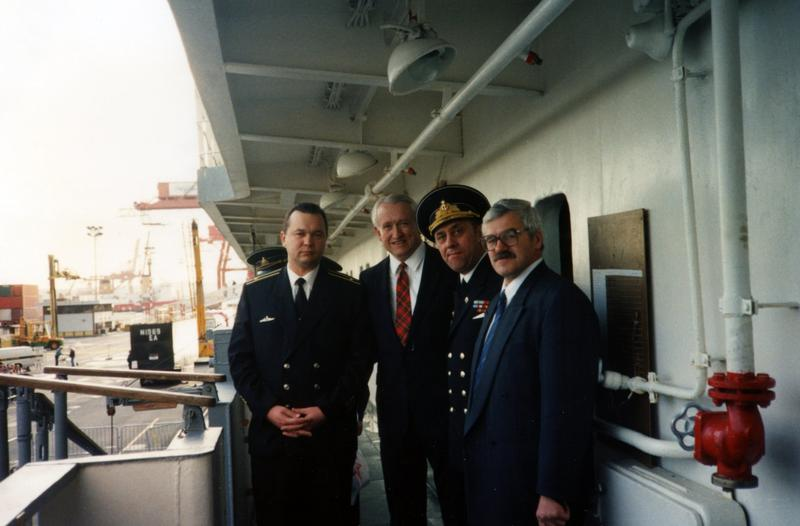 Then-Washington Secretary of State Ralph Munro, second from left, aboard the Russian ship Marshal Krylov, in 1992, during its visit to Seattle.