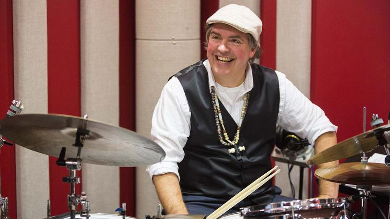 "Drummer Jeff ""Bongo"" Busch anticipates cake for Saturday Jazz Caliente's first birthday"