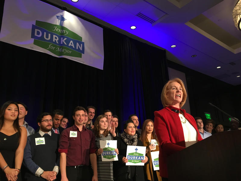 Jenny Durkan declares victory in the Seattle mayoral race at an election party Tuesday evening at the Westin Hotel in downtown Seattle.