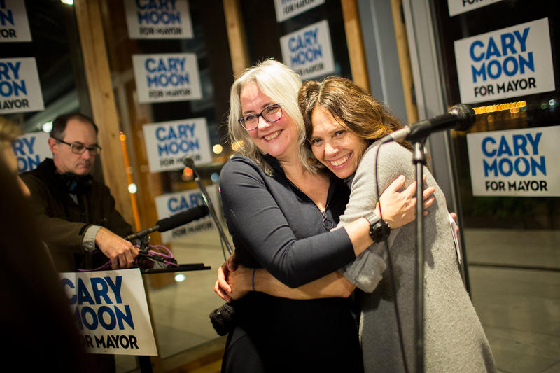 Cary Moon spoke to supports at Old Stone Brewing in Pike Place Market Tuesday night, but did not concede in the Seattle Mayoral race to Jenny Durkan.
