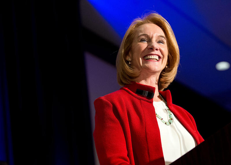 Jenny Durkan declares victory in the Seattle mayoral race at an election party Nov. 7, 2017, at the Westin Hotel in downtown Seattle.
