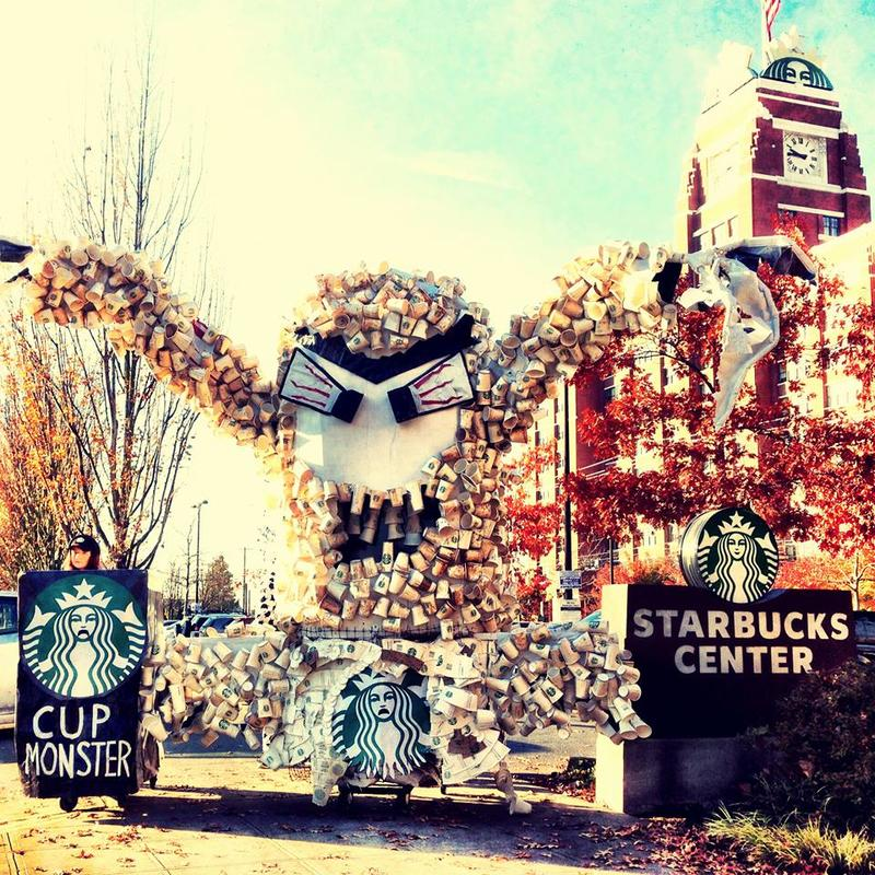 "Stand.earth's cup monster, ""Grounds,"" is made of more than 1,000 Starbucks cups."